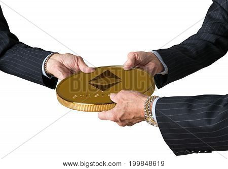 Hands of three financial traders gripping ethereum coin isolated against a white background