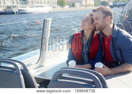 Honeymoon of amorous couple enjoying their motorship journey