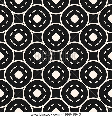 Vector geometric texture. Abstract geometrical seamless pattern with circular mesh, curved lines, circles. Simple dark monochrome abstract background. Black & white. Modular design for tileable print.