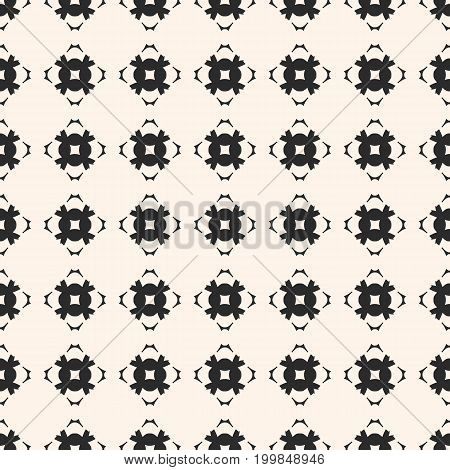 Vector geometric texture. Ornamental seamless pattern. Abstract monochrome background with carved shapes, mosaic elements, square grid. Repeat ornament tiles. Design for decor, fabric, tiling, textile.