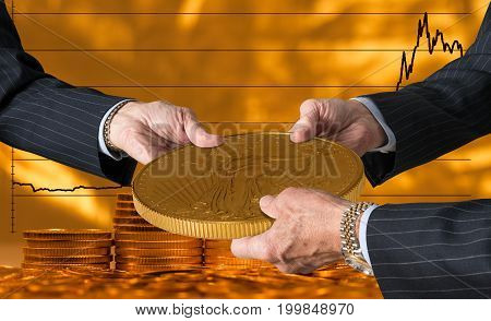 Hands of three financial traders gripping gold eagle coin against a background of rising prices for the currency