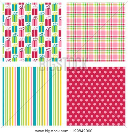 Seamless gift print with coordinating plaid, stripe and polka dot pattern.