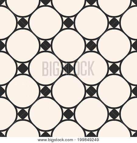 Vector minimalist seamless pattern, subtle geometric texture, circular grid, thin curved lines. Monochrome illustration of mesh. Simple repeat abstract background. Design element for decor, fabric.