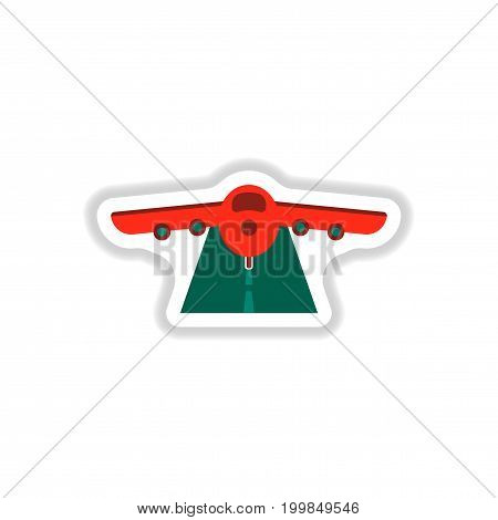 paper sticker on white background airplane runway