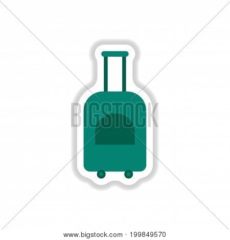 paper sticker on white background suitcase on wheels