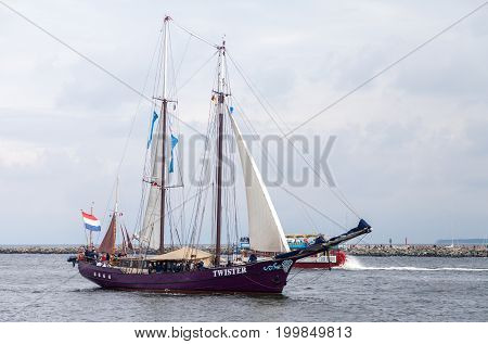 WARNEMUENDE / GERMANY - AUGUST 12 2017: sailing ship at public event hanse sail in warnemuende germany.