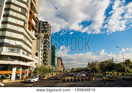 Quito, Pichincha Ecuador - August 10 2017: View from the Naciones Unidas avenue to the Shyris street, north part of the city of Quito with new buildings in the background.