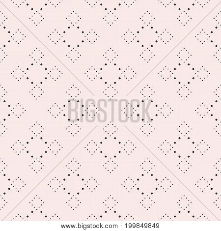 Subtle dotted seamless pattern, delicate vector texture in trendy pastel colors soft pink & gray. Abstract repeat background with tiny circles in square form. Elegant design element for decor, prints.