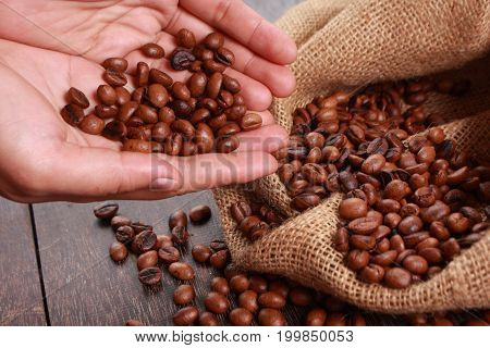 Photo image. Food and beverage. Roasted coffee beans background