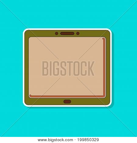 paper sticker on stylish background of tablet gadget