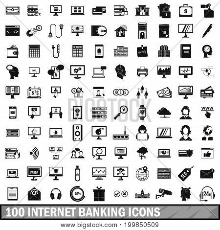 100 internet banking icons set in simple style for any design vector illustration