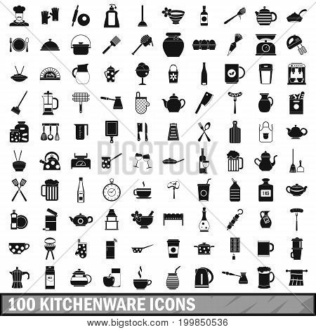 100 kitchenware icons set in simple style for any design vector illustration