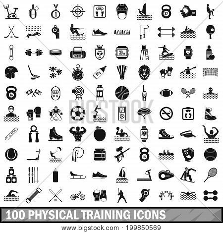 100 physical training icons set in simple style for any design vector illustration