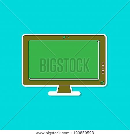 paper sticker on stylish background of computer monitor