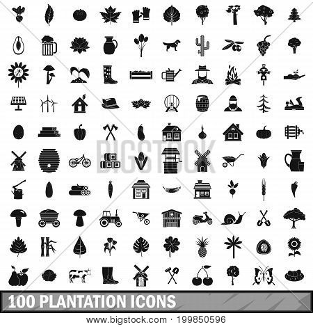 100 plantation icons set in simple style for any design vector illustration