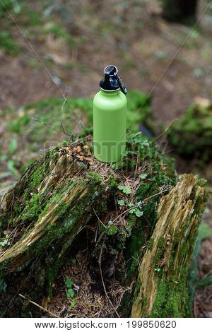 Sports bottle for drinking close-up of water
