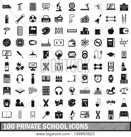 100 private school icons set in simple style for any design vector illustration