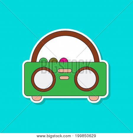 paper sticker on stylish background of tape recorder