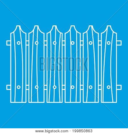 Wooden fence icon blue outline style isolated vector illustration. Thin line sign