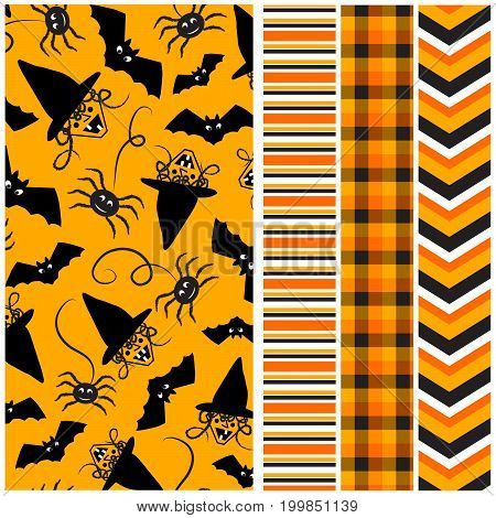 Halloween Patterns - Seamless halloween pattern with coordinating stripe, plaid and chevron print.