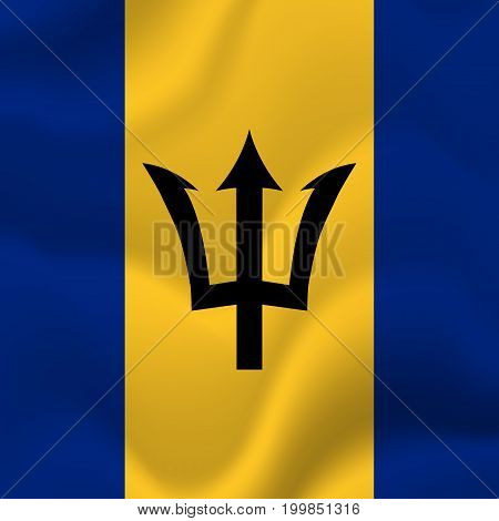 Barbados waving flag. Waving flag. Vector illustration.