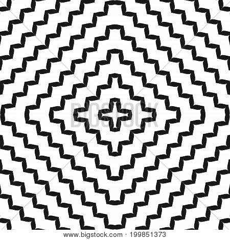 Cross seamless pattern, geometric ornament texture with concentric zigzag lines in square form. Black & white abstract wavy background, dynamical optical illusion. Modern stylish design. Wavy lines pattern, zigzag pattern, squares pattern.