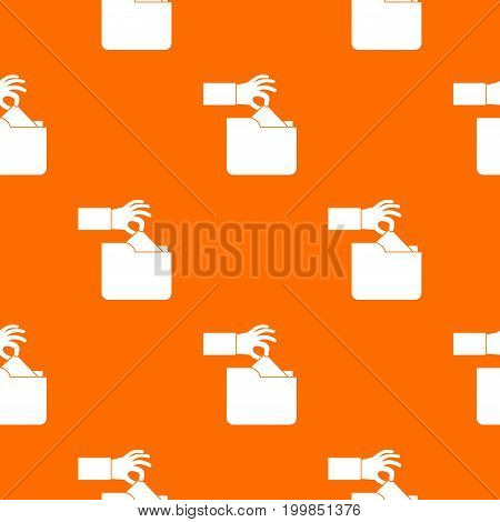 Robbery secret data in folder pattern repeat seamless in orange color for any design. Vector geometric illustration