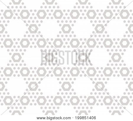 Hexagon texture, vector seamless pattern in soft pastel colors beige & white. Perforated surface, hexagonal grid. Subtle abstract repeat background. Delicate design for decor, textile, wrapping, web.