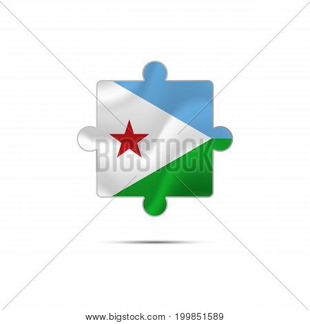Isolated piece of puzzle with the Equatorial Guinea flag. Vector illustration.