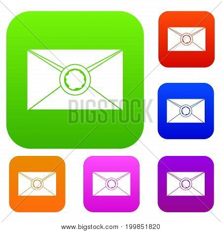 Envelope with red wax seal set icon in different colors isolated vector illustration. Premium collection