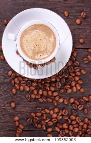 Photo image. Food and beverage. Cup of coffee made from fresh roasted coffee beans