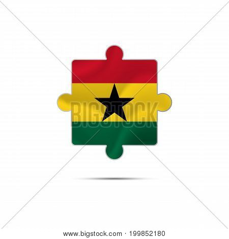 Isolated piece of puzzle with the Ghana flag. Vector illustration.