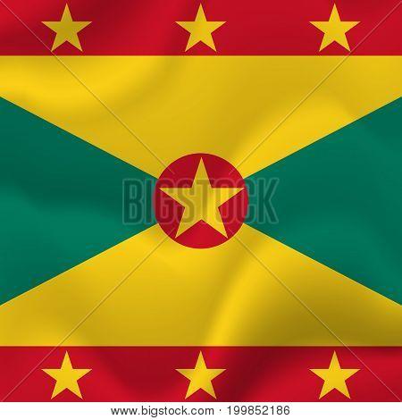 Grenada waving flag. Waving flag. Vector illustration.