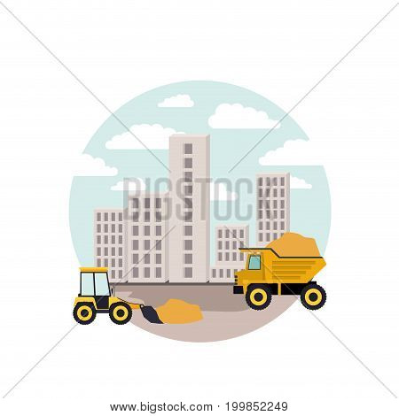 white background with circular scene city landscape and dump truck with mini earth move vector illustration