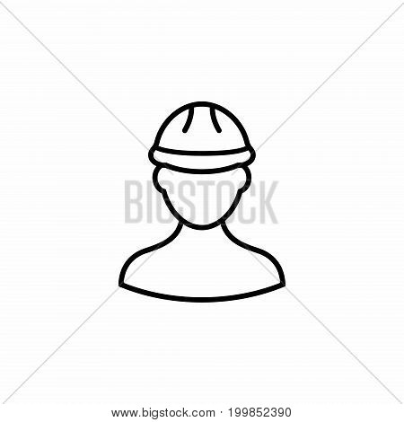 Builder flat vector outline icon. Builder icon in flat style for web design.