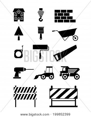 white background with set silhouette monochrome tools for construction vector illustration