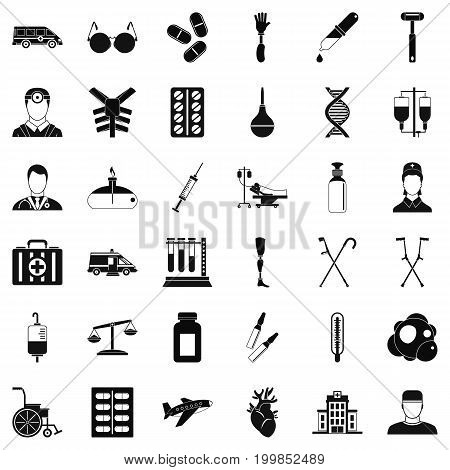 Ambulance icons set. Simple style of 36 ambulance vector icons for web isolated on white background