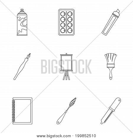 Art school icons set. Outline set of 9 art school vector icons for web isolated on white background