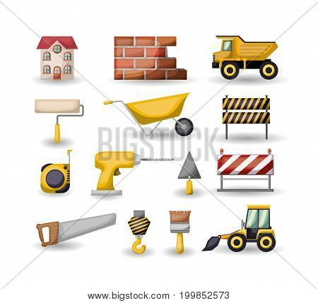 white background with set colorful tools for construction vector illustration