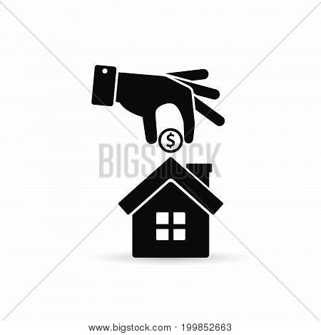 Hand put coin inside the house. Vector simple illustration real estate investment.