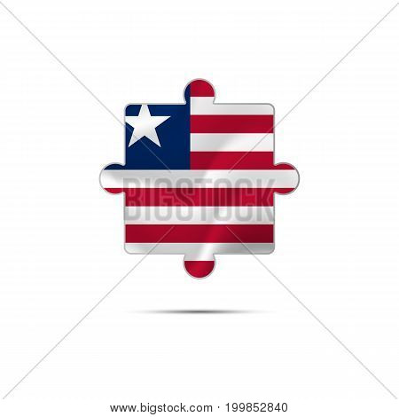 Isolated piece of puzzle with the Liberia flag. Vector illustration.