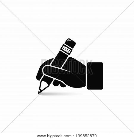 Hand hold pencil icon. Hand writing icon. Vector isolated illustration.