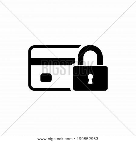 Credit Card with lock icon. Locked bank card illustration. Vector.