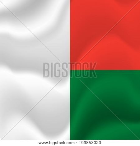 Madagascar waving flag. Waving flag. Vector illustration.