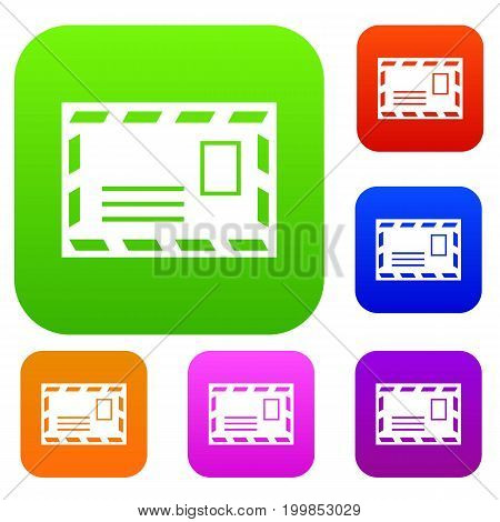 Postage envelope with stamp set icon in different colors isolated vector illustration. Premium collection