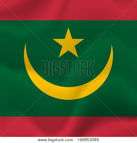 Mauritania waving flag. Waving flag. Vector illustration.