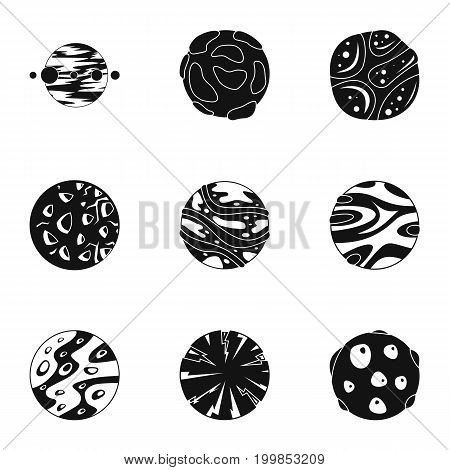 Space planet icons set. Simple set of 9 space planet vector icons for web isolated on white background