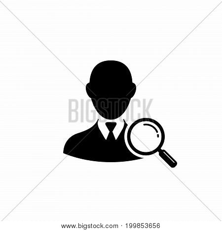 Search for man employee human resource. Vector icon.
