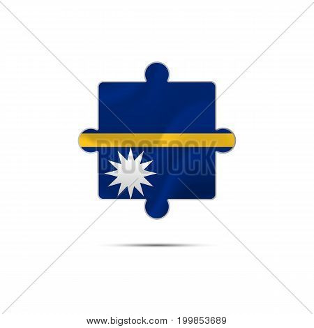 Isolated piece of puzzle with the Nauru flag. Vector illustration.