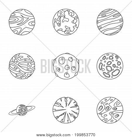 Space planet icons set. Outline set of 9 space planet vector icons for web isolated on white background